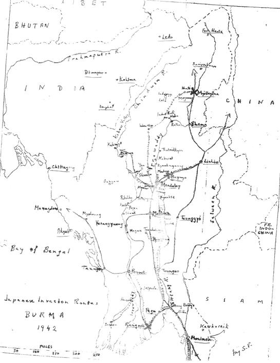 Outline Map of WWII Burma 1941 Routes of Allied army retreats amidst Japanese advance.